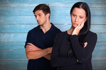 Composite image of couple not talking after argument
