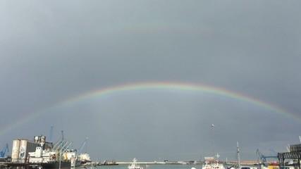 Ancona, porto marittimo - Video con arcobaleno