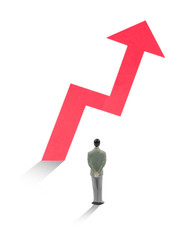Businessman watch how statistic arrow growth