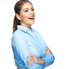 Smiling business woman. Isolated portrait. White background.