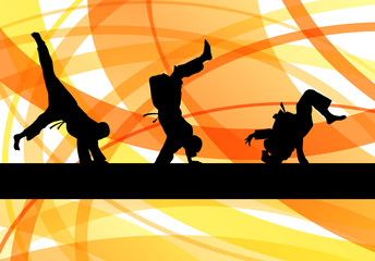 Judo fight boy vector background concept
