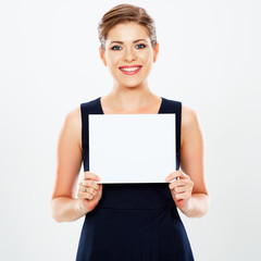 Smiling Business woman hold white card