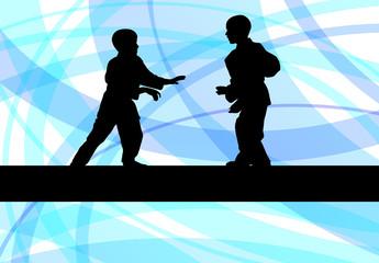 Judo fight boy vector background concept