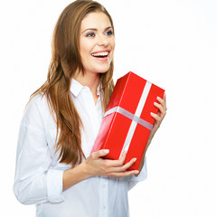 happy smiling business woman hold red gift. white background is