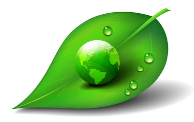Green Earth World on Leaf  Icon Symbol
