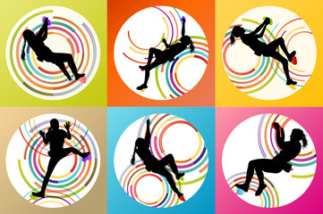 Girl climbing rock wall set vector background concept