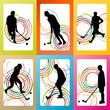 Floorball player vector background set concept