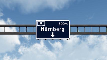 Nurnberg Germany Highway Road Sign