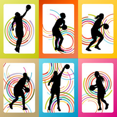 Basketball woman player vector background set