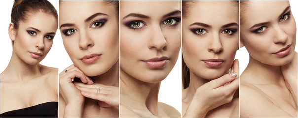 Photo collage of beauty woman face with clean perfect skin