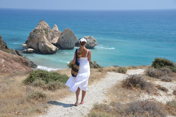 Girl walking to the beach near Aphrodite birthplace, Cyprus
