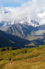 Mountaineer following famous trekking route,Caucasus mountains