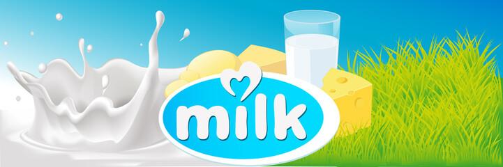 vector design with milk splash, dairy product