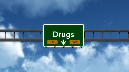 Drugs Highway Road Sign Exit Only Concept 3D Illustration