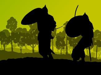 Medieval warrior, crusader vector background concept