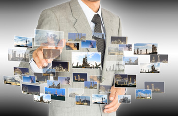 businessman choose choice of industrial factory concept abstract