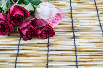 Roses placed on a woven wood blinds 2