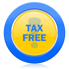 tax free blue yellow icon