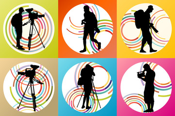 Cameramen and camcorder video operator set vector background