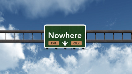 Nowhere Highway Road Sign Exit Only Concept 3D Illustration