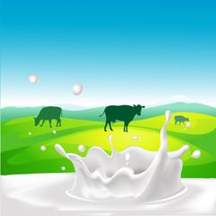 vector design with cow, milk splash and landscape