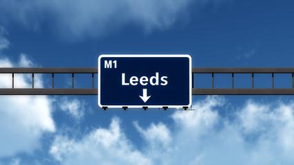 Leeds United Kingdom Highway Road Sign