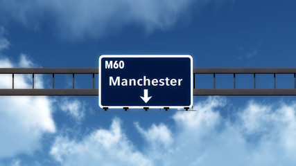 Manchester United Kingdom Highway Road Sign