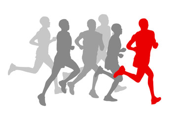 Winner finish vector background and group of runners concept