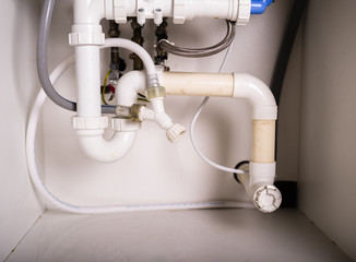 Pipes and plumbing under sink