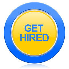 get hired blue yellow icon