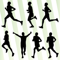 Marathon runners detailed active illustration silhouettes collec