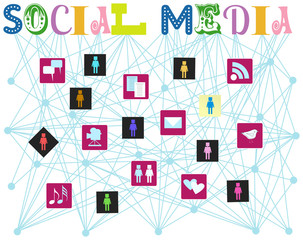 social media, vector illustration