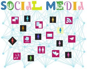 social media, vector illustration