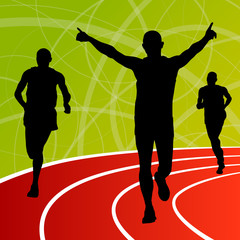 Active runner sport athletics running silhouettes illustration b