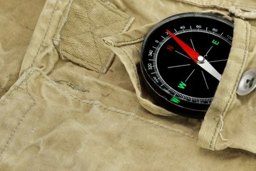 Magnetic Compass Lying Over a  Camouflage  Handbag