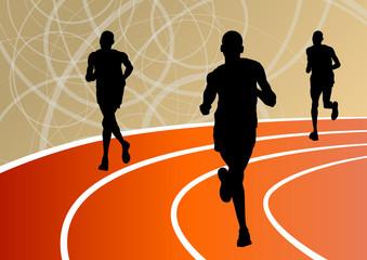 Active runner sport athletics running silhouettes illustration b