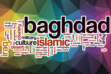 Baghdad word cloud with abstract background