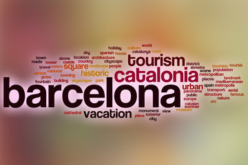 Barcelona word cloud with abstract background