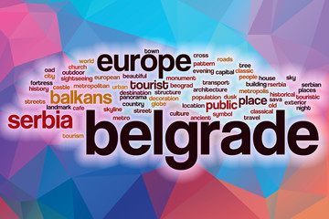 Belgrade word cloud with abstract background