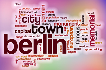 Berlin word cloud with abstract background