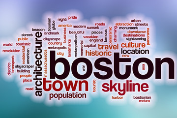 Boston word cloud with abstract background