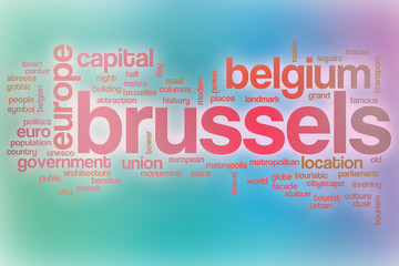 Brussels word cloud with abstract background