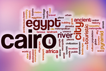 Cairo word cloud with abstract background