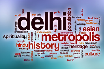 Delhi word cloud with abstract background
