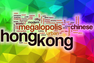 Hong Kong word cloud with abstract background