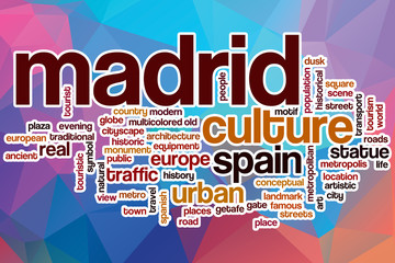 Madrid word cloud with abstract background