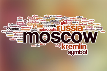 Moscow word cloud with abstract background