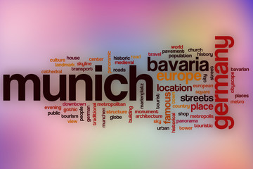 Munich word cloud with abstract background