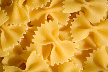 Close up of bow-tie pasta (or italian farfalle)