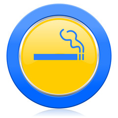 cigarette blue yellow icon nicotine sign